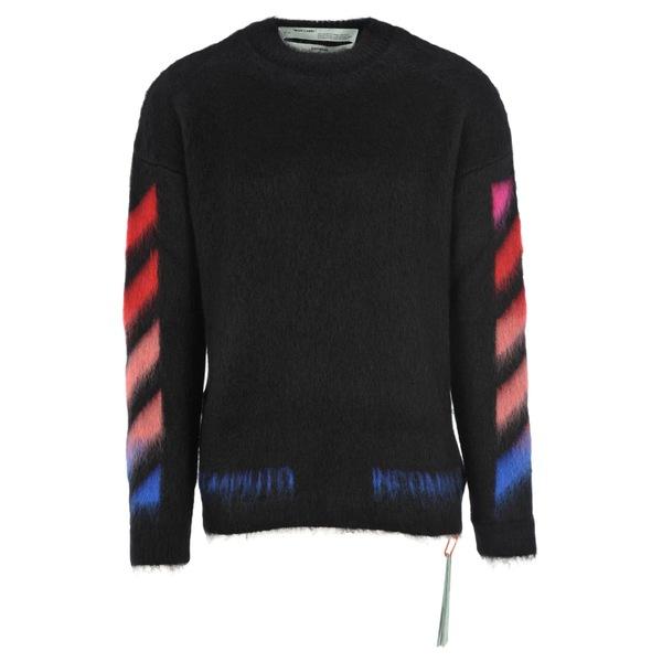 オフホワイト メンズ ニット&セーター アウター Off White Diagonal Brushed Sweater BLACK