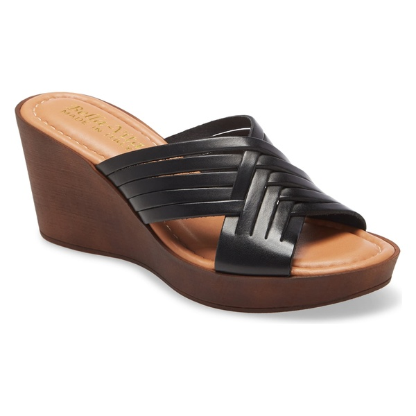 ベラヴィータ レディース サンダル シューズ Bella Vita Cat Wedge Slide Sandal (Women) Black Italian Leather