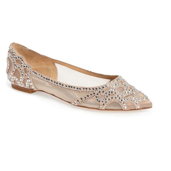 バッドグレイミッシカ レディース サンダル シューズ Badgley Mischka Gigi Crystal Pointy Toe Flat (Women) Latte Suede