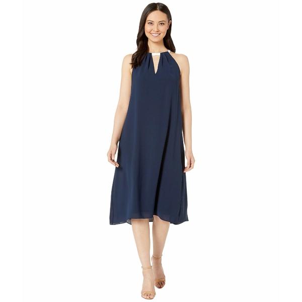 アドリアナ パペル レディース ワンピース トップス Color Block Trapeze Halter Dress Blue Moon/Ivory