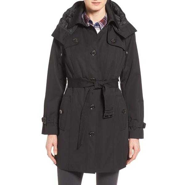 ロンドンフォグ レディース ジャケット&ブルゾン アウター London Fog Single Breasted Trench Coat (Regular & Petite) Black