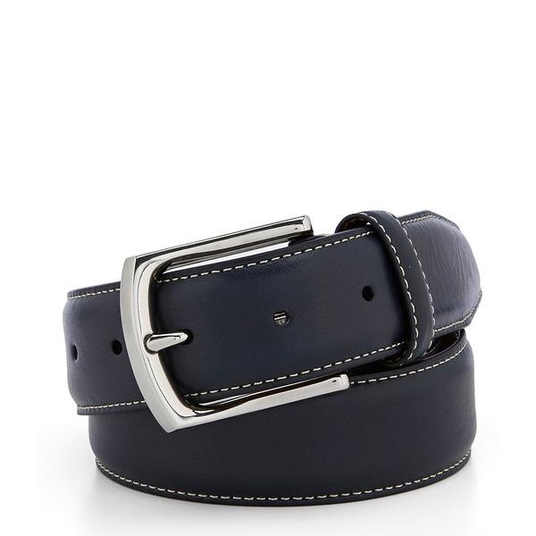 クレミュ メンズ ベルト アクセサリー Contrast Stitch Leather Belt Navy