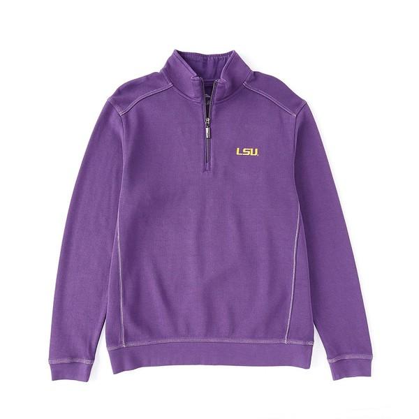 トッミーバハマ メンズ ニット&セーター アウター Collegiate Nassau Half-Zip Pullover LSU Tigers Purple