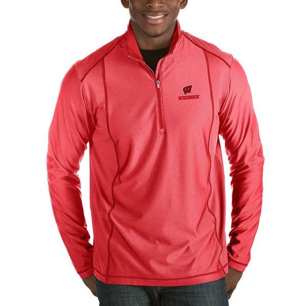 アンティグア メンズ ニット&セーター アウター NCAA Tempo Half-Zip Pullover Wisconsin Red