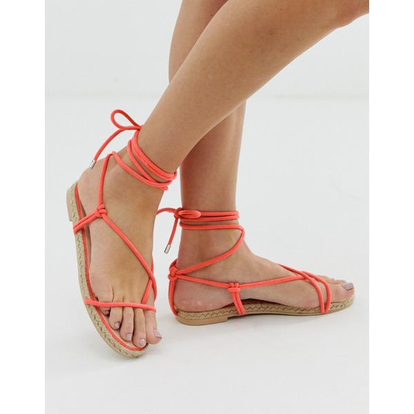 シミシューズ レディース サンダル シューズ Simmi London Hira coral toe loop espadrille sandals Neon orange