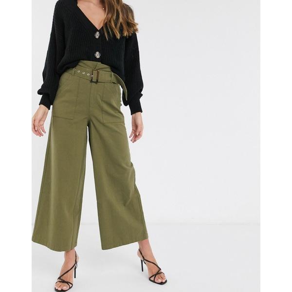 エイソス レディース カジュアルパンツ ボトムス ASOS DESIGN belted pants with paperbag waist in green washed cotton Green