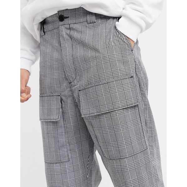 リクレイム ヴィンテージ メンズ カジュアルパンツ ボトムス Reclaimed Vintage relaxed fit check pants in gray Blackj54RLA
