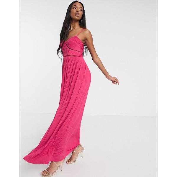 エイソス レディース ワンピース トップス ASOS DESIGN Premium cami pleated maxi dress with ladder trim detail in pink Pink
