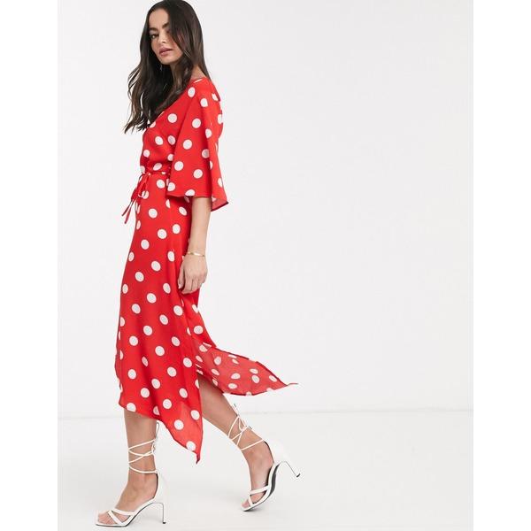 アックスパリ レディース ワンピース トップス AX Paris paneled maxi dress Red polka