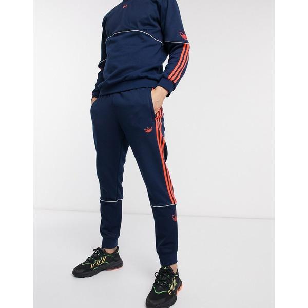 アディダスオリジナルス メンズ カジュアルパンツ ボトムス adidas Originals outline trefoil sweatpants in navy Ny1 - navy 1