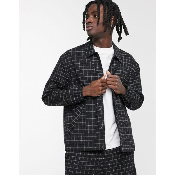 メンナス メンズ ジャケット&ブルゾン アウター Mennace two-piece grid check pocket jacket in black Black