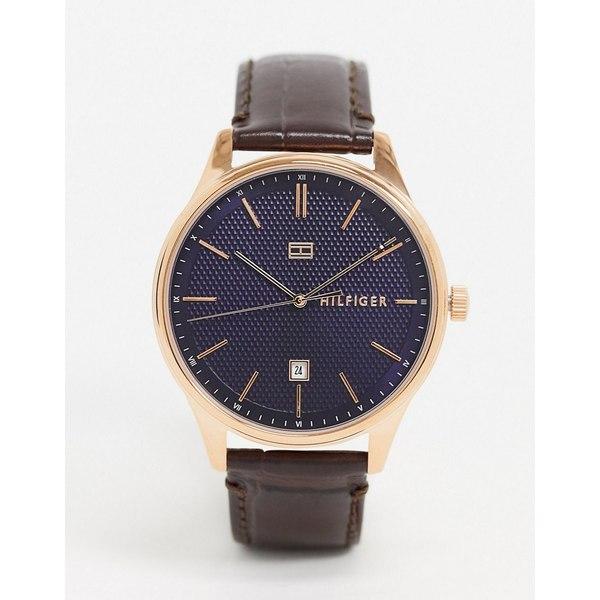 トミー ヒルフィガー メンズ 腕時計 アクセサリー Tommy Hilfiger 1791493 brown strap watch Brown