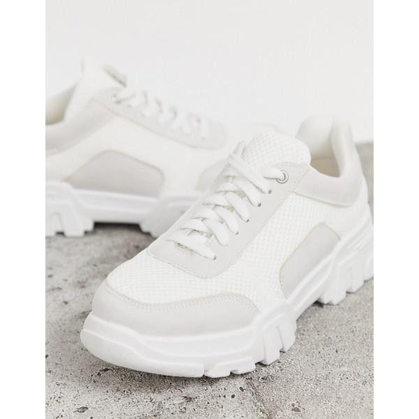 シミシューズ レディース スニーカー シューズ Simmi London Max white chunky sneakers Gray suede white me