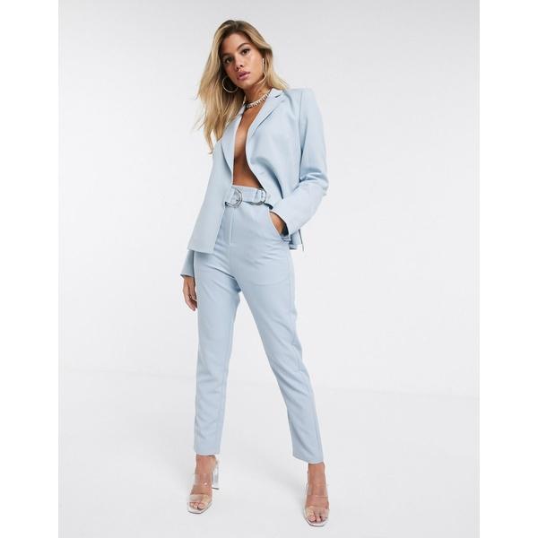 フォースレックレス レディース カジュアルパンツ ボトムス 4th + Reckless suit pants with side buckle in pale blue Blue