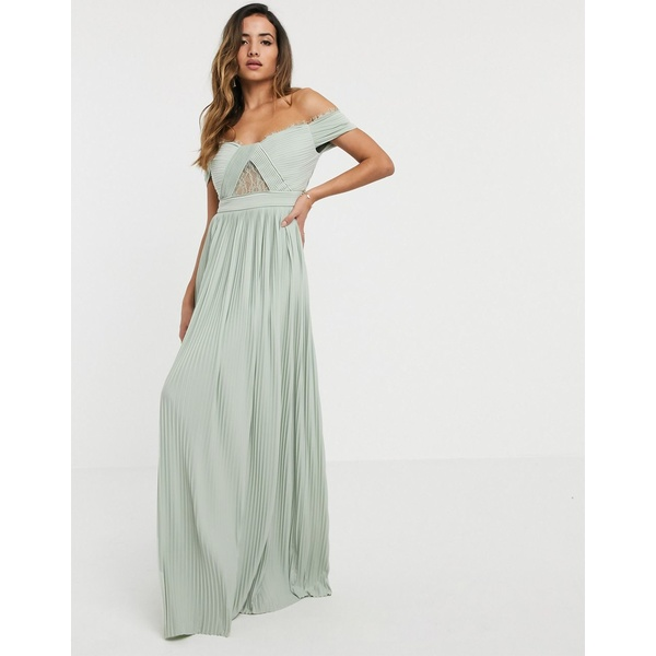 エイソス レディース ワンピース トップス ASOS DESIGN Premium lace and pleat bardot maxi dress Sage