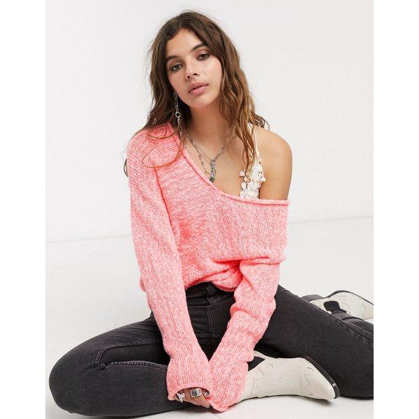 フリーピープル レディース ニット&セーター アウター Free People bright lights v neck sweater in pink Pink