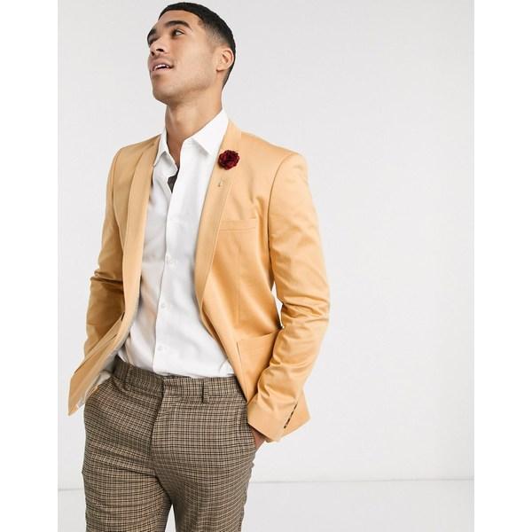 エイソス メンズ ジャケット&ブルゾン アウター ASOS DESIGN wedding super skinny cotton blazer in camel Tan