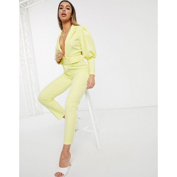 エイソス レディース ワンピース トップス ASOS DESIGN tux jumpsuit with puff sleeve detail and self belt Lemon