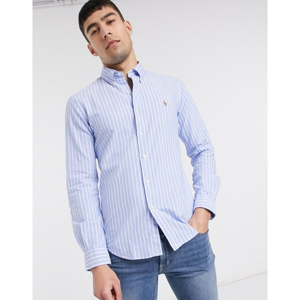 ラルフローレン メンズ シャツ トップス Polo Ralph Lauren stripe oxford shirt slim fit player logo in blue exclusive to ASOS Blue