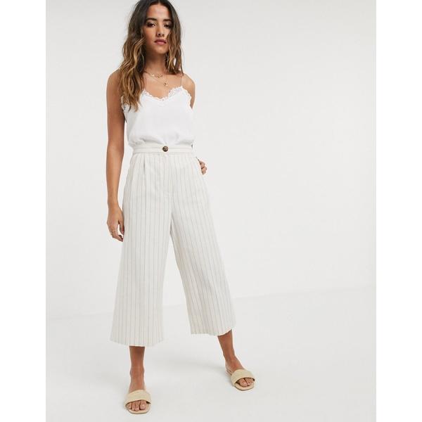 エイソス レディース カジュアルパンツ ボトムス ASOS DESIGN linen culottes in stripe Stripe