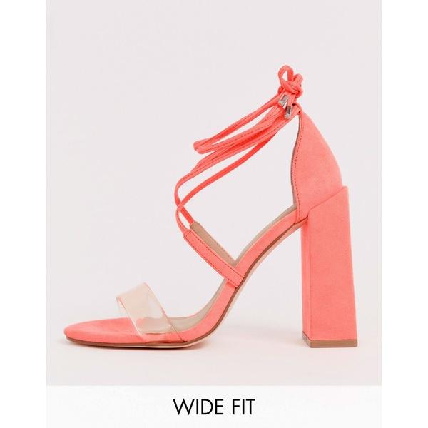 エイソス レディース サンダル シューズ ASOS DESIGN Wide Fit Hadley barely there block heeled sandals in neon pink Neon pink