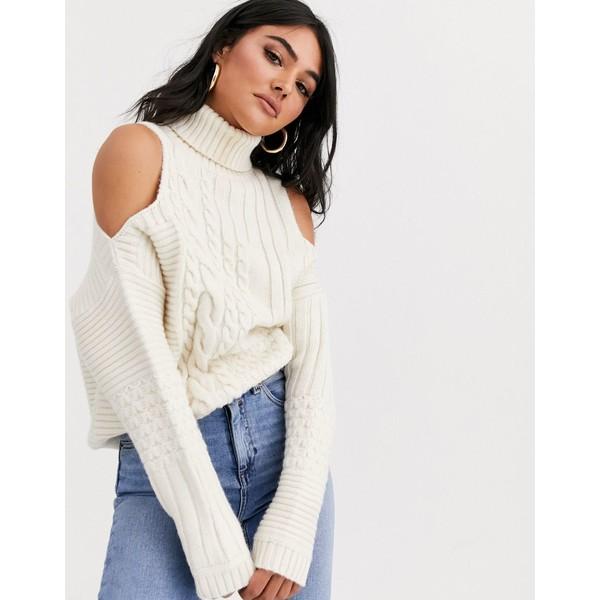 エイソス レディース ニット&セーター アウター ASOS DESIGN cold shoulder cable sweater Cream