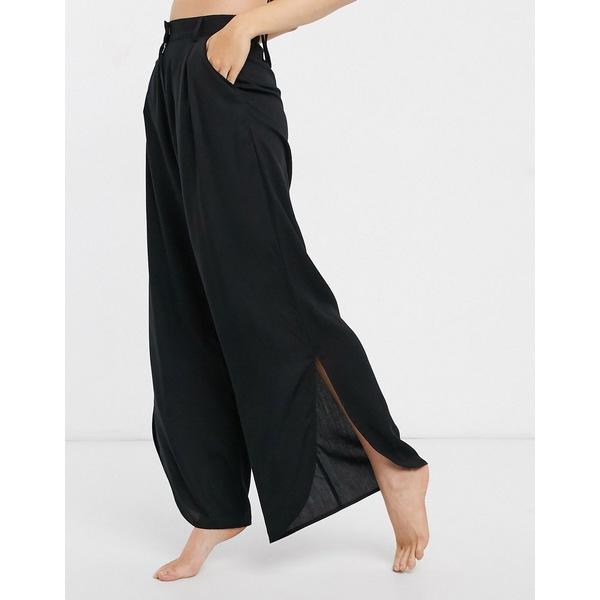 モンキ レディース カジュアルパンツ ボトムス Monki side-split beach pants in black Black