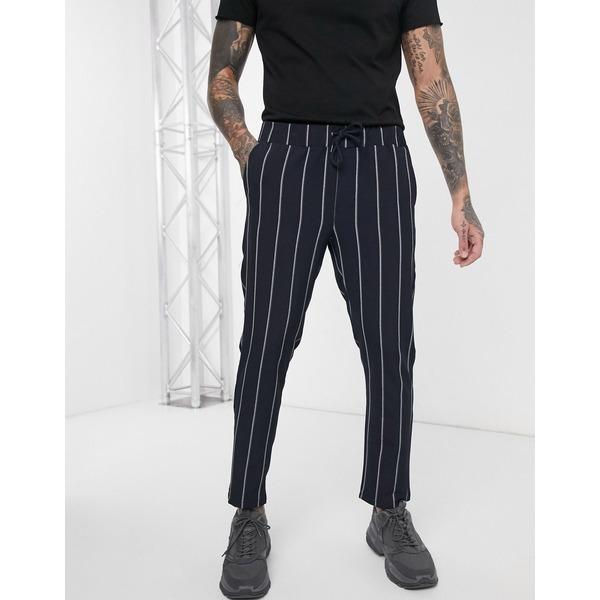 ブーフー メンズ カジュアルパンツ ボトムス boohooMAN wide set vertical stripe smart cropped jogger in blue Blue