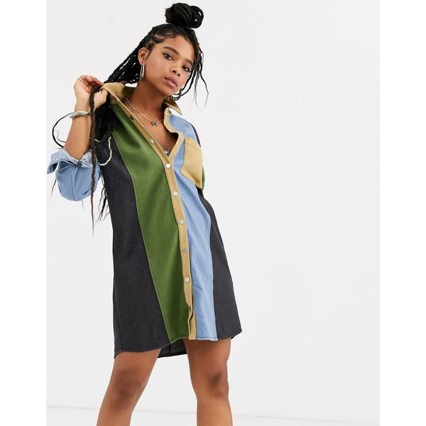 エモリーパーク レディース ワンピース トップス Emory Park shirt dress in contrast panels Multi