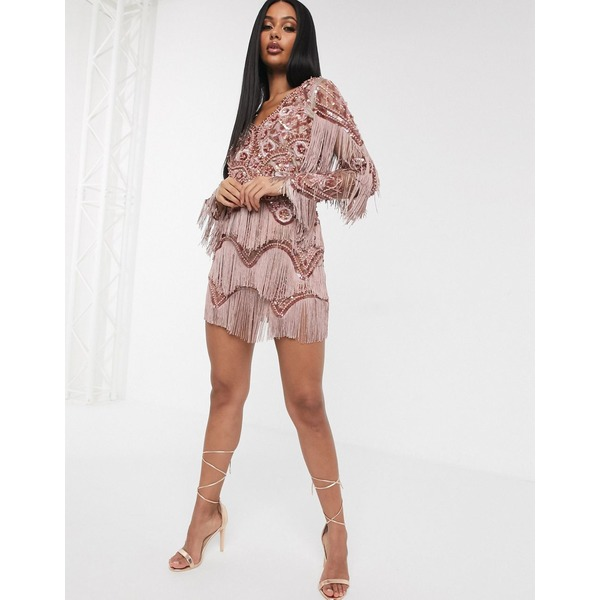 エースターイズボーン レディース ワンピース トップス A Star Is Born exclusive embellished tassel mini dress with plunge front in mink Mink