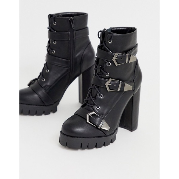 シミシューズ レディース ブーツ&レインブーツ シューズ Simmi London Jodie black chunky buckle detail boots Black