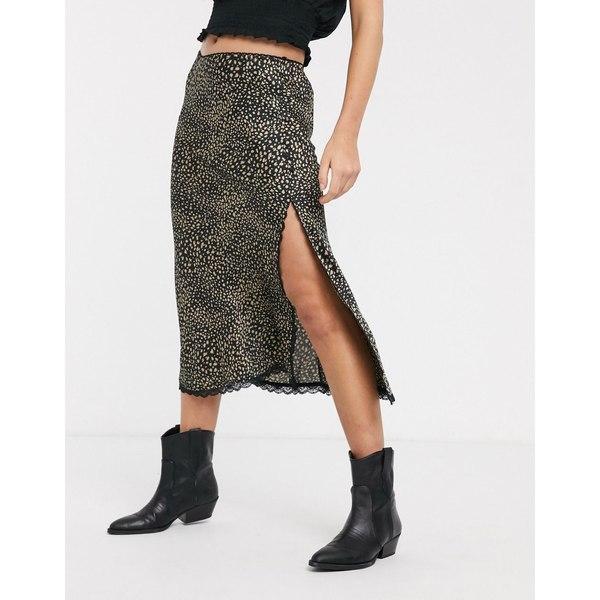エモリーパーク レディース スカート ボトムス Emory Park midi skirt with lace trim in mini leopard Multi