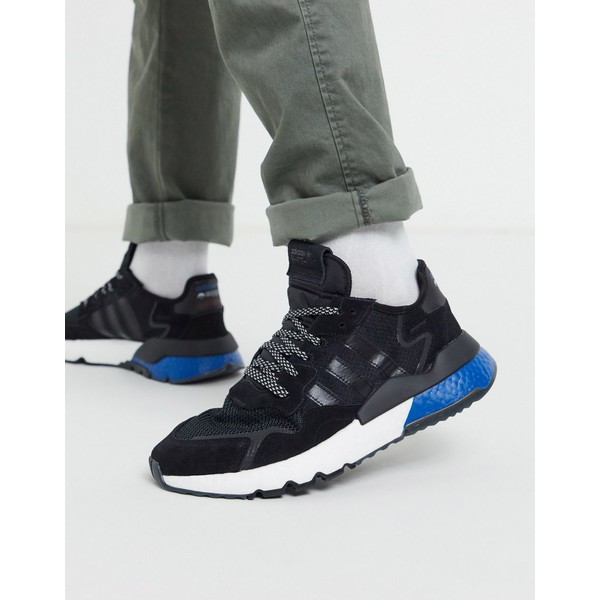 アディダスオリジナルス メンズ スニーカー シューズ adidas Originals nite jogger sneakers in black space tech pack Bk1 - black 1