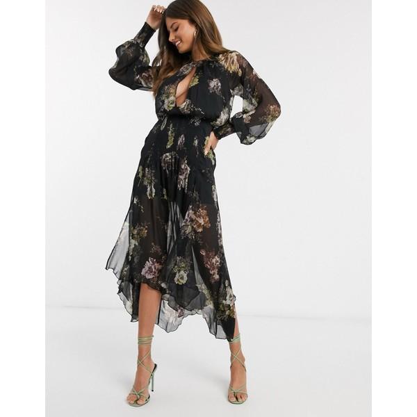 エイソス レディース ワンピース トップス ASOS DESIGN drop waist shirred floral midaxi dress Black floral