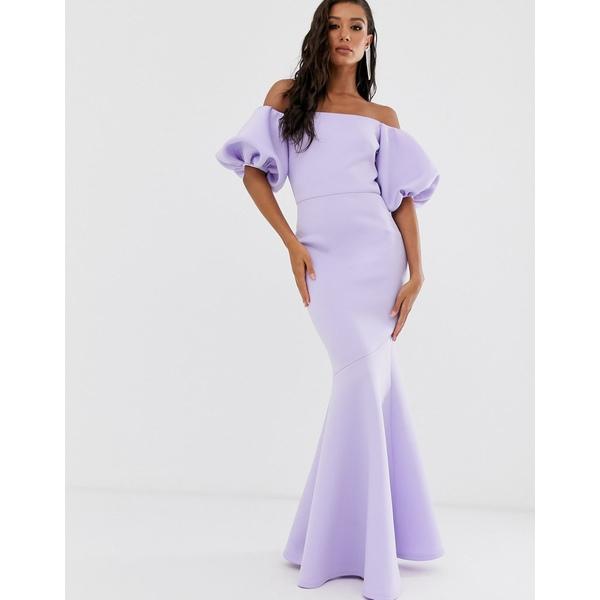 トゥルーバイオレット レディース ワンピース トップス True Violet Black Label puff sleeve peplum maxi dress in lilac Lilac
