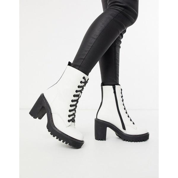 パブリックデザイア レディース ブーツ&レインブーツ シューズ Public Desire Fearne lace up chunky ankle boot in white White pu