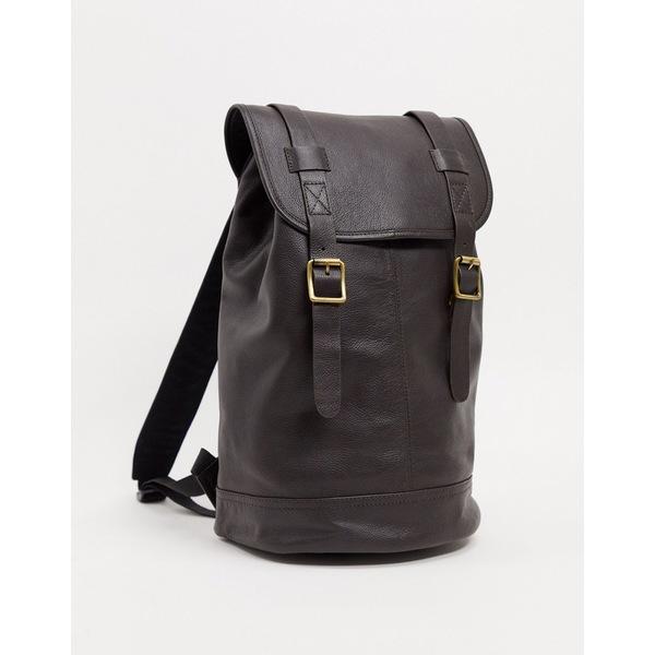 エイソス メンズ バックパック・リュックサック バッグ ASOS DESIGN leather backpack in brown with burnishing and double straps Brown