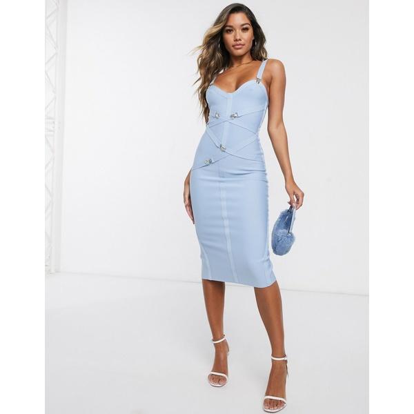 エイソス レディース ワンピース トップス ASOS DESIGN premium bandage suspender clips midi dress in blue Blue