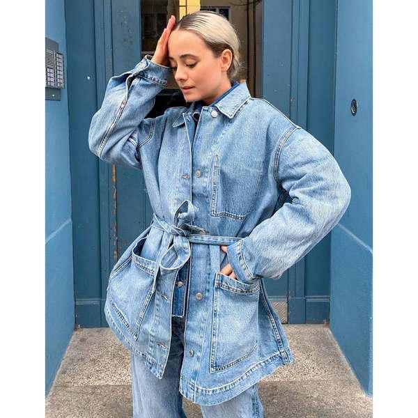 ウィークデイ レディース ジャケット&ブルゾン アウター Weekday Clay worker jacket in seven blue Seven blue