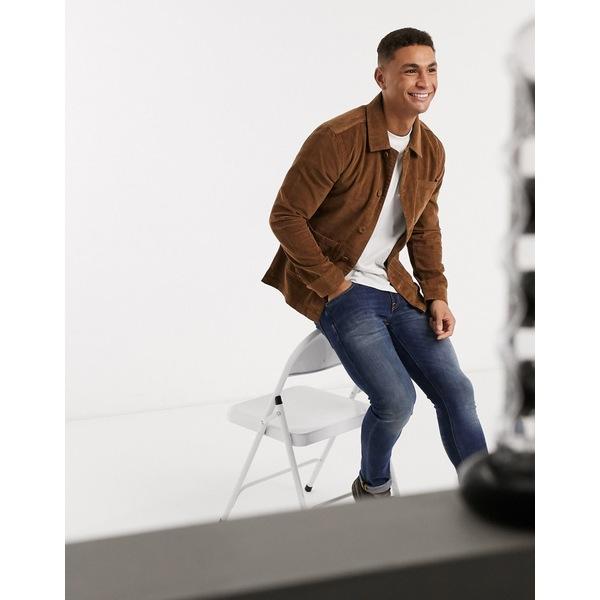 ブレーブソウル メンズ コート アウター Brave Soul doron worker jacket with pockets in tan cord Tan
