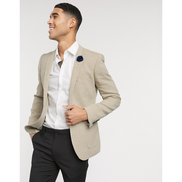 エイソス メンズ ジャケット&ブルゾン アウター ASOS DESIGN wedding super skinny blazer in beige wool mix twill Beige