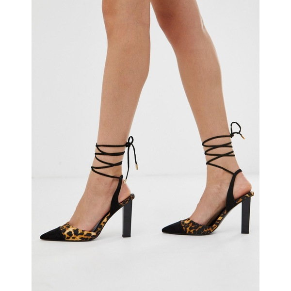 エイソス レディース ヒール シューズ ASOS DESIGN Pucker Up tie leg pointed high heels in leopard Black/leopard