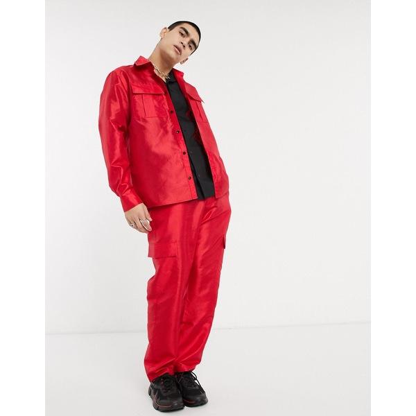ミルクイット メンズ シャツ トップス Milk It Vintage long sleeve utility shirt in red Red