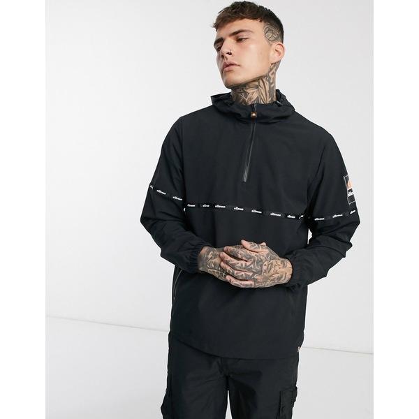 エレッセ メンズ ジャケット&ブルゾン アウター ellesse Orba half-zip jacket with tape detail in black Black