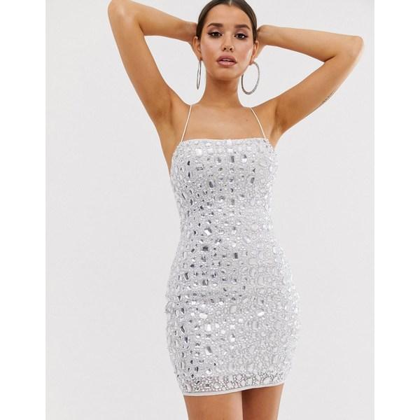 エイソス レディース ワンピース トップス ASOS DESIGN heavily embellished beaded mini dress Silver