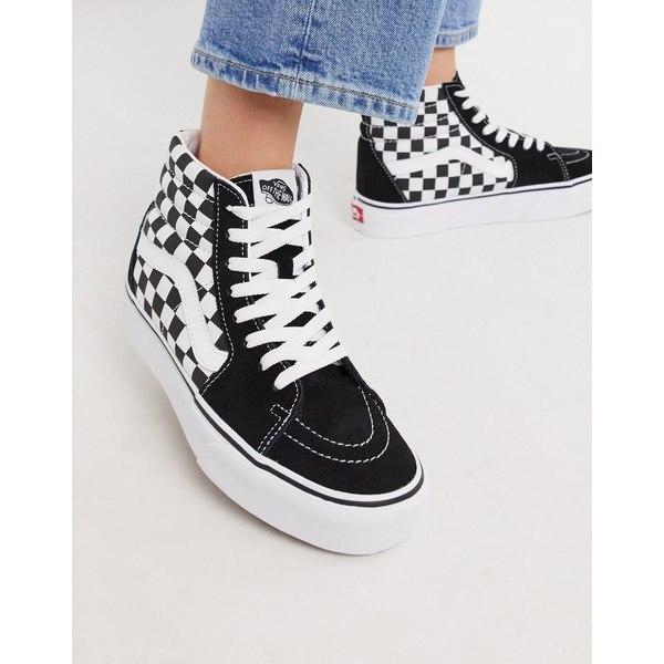 バンズ レディース スニーカー シューズ Vans SK8-Hi Platform 2.0 sneaker in checkerboard Checkerboard/true wh