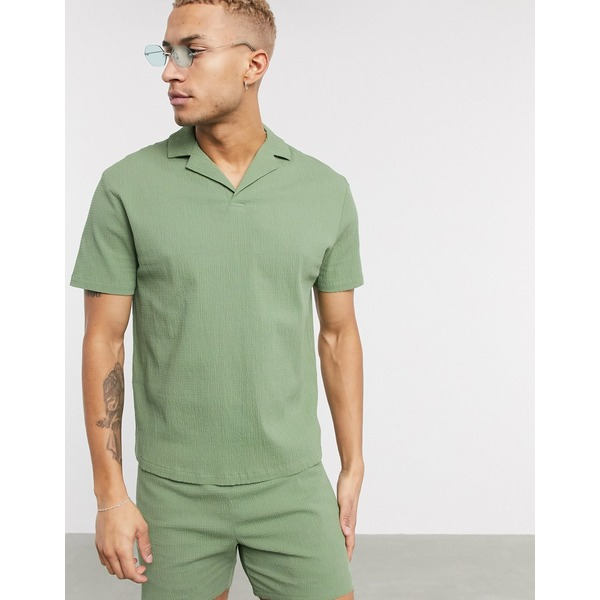 エイソス メンズ ポロシャツ トップス ASOS DESIGN two-piece relaxed revere polo shirt in green seersucker Green