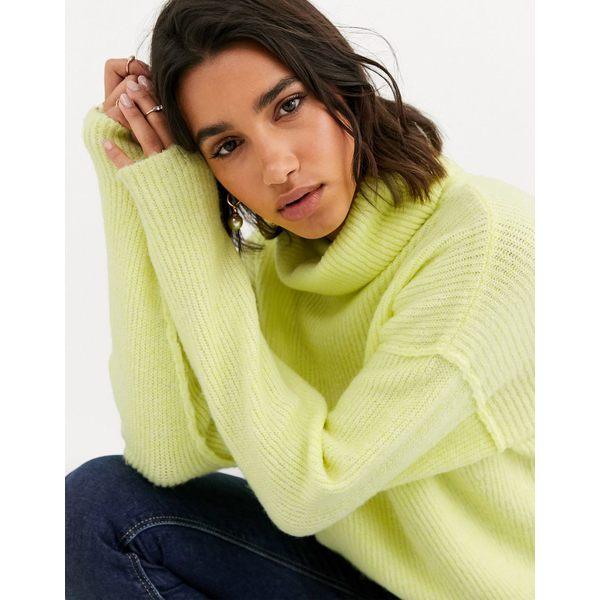 エイソス レディース ニット&セーター アウター ASOS DESIGN fluffy sweater with cowl neck in recycled blend Pistachio