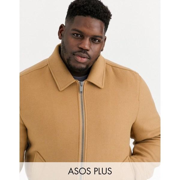 エイソス メンズ ジャケット&ブルゾン アウター ASOS DESIGN Plus wool mix harrington jacket in camel Camel