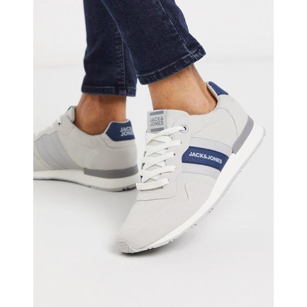 ジャック アンド ジョーンズ メンズ スニーカー シューズ Jack & Jones sneakers with blue stripe in gray Winter white
